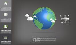 Dirigez la carte du monde avec le vecteur d'espace de copie sur le fond gris-foncé Illustration Stock