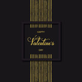Dirigez la carte et le fond noirs de vacances avec le jour heureux du ` s de Valentine de lignes d'or et de mots tirés par la mai Photos stock