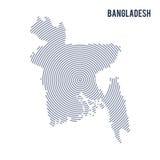 Dirigez la carte hachée par résumé du Bangladesh avec les lignes en spirale d'isolement sur un fond blanc Photo stock