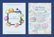 Dirigez la carte, le calibre d'insecte ou de brochure pour le bonbon ou la boutique de pâtisserie avec les macarons tirés par la  illustration de vecteur