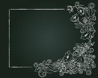 Dirigez la carte, les fleurs de craie et les feuilles florales Photos stock