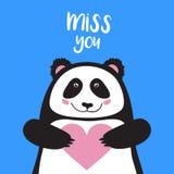 Dirigez la carte, les lettres de lettrage de bannière tu me manque, le panda de bande dessinée tenant le coeur et le sourire Photos stock