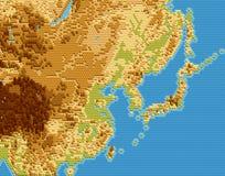Dirigez la carte physique de l'Asie de l'Est a stylisé utilisant des hexagones de relief illustration stock