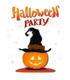 Dirigez la carte plate de Halloween, publicité, bannière, affiche, plaquette, invitation de partie, conception de flayer Image stock