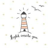 Dirigez la carte postale ou la bannière avec le phare et la typographie Lumière à l'intérieur de vous illustration de vecteur