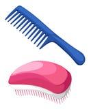 Dirigez la collection d'équipement de mode d'illustration de la brosse à cheveux de peignes pour les cheveux, ensemble de différe Photos libres de droits