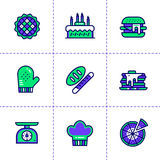 Dirigez la collection d'icônes, de boulangerie et de cuisson d'ensemble Haut qua Photo stock
