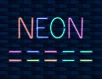 DIRIGEZ la collection de Brishes au néon, la couleur différente, lampes au néon sur le mur de briques illustration stock