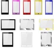 Dirigez la collection de comprimés, et de téléphones sur un fond blanc Photographie stock libre de droits