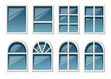 Dirigez la collection de divers types blancs de fenêtres pour le style plat d'intérieur et d'utilisation extérieure d'isolement s illustration de vecteur