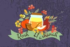 Dirigez la collection de labels et d'éléments pendant la nouvelle année juive Images stock