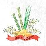 Dirigez la collection de labels et d'éléments pour Sukkot (traditionnel juif Photo stock
