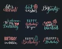 Dirigez la collection de lettrage de main de joyeux anniversaire, la grande partie, meilleurs voeux etc. Calligraphie réglée pour illustration de vecteur