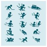 Dirigez la collection de silhouettes simples plates d'athlète d'isolement sur le fond blanc Photo stock