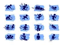 Dirigez la collection de silhouettes simples plates d'athlète d'isolement sur le fond blanc Photographie stock libre de droits