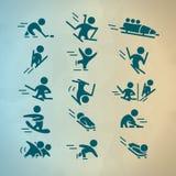 Dirigez la collection de silhouettes simples plates d'athlète d'isolement sur le fond blanc Image libre de droits