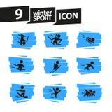 Dirigez la collection de silhouettes simples plates d'athlète d'isolement sur le fond blanc Icônes de sport d'hiver Photographie stock libre de droits