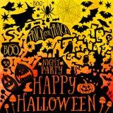 Dirigez la collection heureuse de Halloween, les icônes classiques de paquet, élément de griffonnages pour la conception de Hallo Images libres de droits