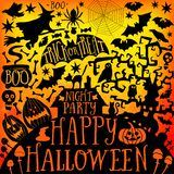 Dirigez la collection heureuse de Halloween, les icônes classiques de paquet, élément de griffonnages pour la conception de Hallo Images stock