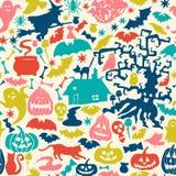 Dirigez la collection heureuse de Halloween, les icônes classiques de paquet, élément de griffonnages pour la conception de Hallo illustration stock