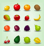 Dirigez la collection réaliste de calibre de fruit de bande dessinée comprenant la carambole orange de banane de fraise de mangue Photos libres de droits
