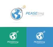 Dirigez la combinaison de logo d'une terre et d'une bombe Logo de globe et de terrorisme Planète et symbole ou icône de bombe Con Images libres de droits