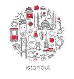 Dirigez la composition en cercle avec des symboles turcs célèbres d'Istanbul illustration stock