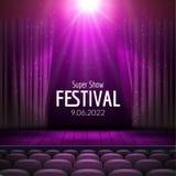 Dirigez la conception de fête avec des lumières et scène et des sièges en bois Affiche pour le concert, partie, théâtre, calibre  Images stock