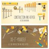 Dirigez la conception plate DIY et les outils à la maison de rénovation Photographie stock libre de droits