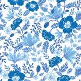 Dirigez la conception sans couture de bacgkround de modèle de répétition de fleurs texturisées bleues de ressort de marine et de  Image stock
