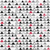 Dirigez la configuration sans joint Triangles tirées par la main de gamme de gris avec les corrections rouges sur le fond blanc illustration stock