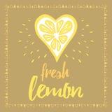 Dirigez la copie avec le citron et le lettrage frais abstraits Bannière imprimable typographique pour la conception d'été Images libres de droits