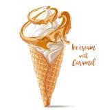 Dirigez la crème glacée dans le cône de gaufre avec la spirale de chocolat Photographie stock
