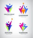 Dirigez la famille stylisée par résumé de 3, icône d'avance d'équipe, logo, signe Photos libres de droits