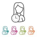 Dirigez la femme avec des icônes d'horloge dans la ligne mince style et conception plate photographie stock libre de droits