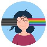 Dirigez la femme caucasienne de bande dessinée avec le type différent d'esprit Changez la mauvaise nouvelle ou les pensées en pos Images libres de droits