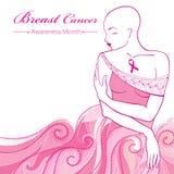 Dirigez la femme chauve après la chimiothérapie avec le ruban rose sur le fond avec des remous roses pointillés Mois de conscienc illustration stock