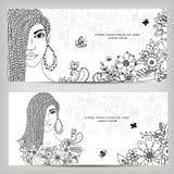 Dirigez la femme de bannières de cartes de zentangl d'illustration avec des dreadlocks en couleurs Verticale de fille Blanc noir  Photographie stock libre de droits