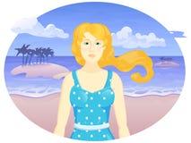 Dirigez la fille de bande dessinée sur la plage de Th dans l'ovale Photographie stock libre de droits