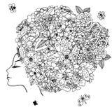 Dirigez la fille de zentangl d'illustration avec des fleurs dans ses cheveux Dessin de griffonnage Exercice méditatif Livre de co Image libre de droits