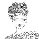 Dirigez la fille de zentangl d'illustration avec des papillons en fleurs Anti-effort de livre de coloriage pour des adultes Rebec Photos libres de droits