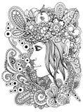 Dirigez la fille de zentangl d'illustration dans le cadre floral Dessin de griffonnage Exercice méditatif Anti effort de livre de Image libre de droits
