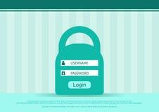 Dirigez la forme de boîte de login, la page d'interface - username et le mot de passe Fond plat Photo stock