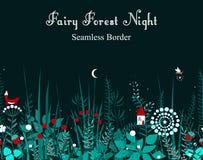 Dirigez la frontière sans couture avec des usines de forêt, et la maison féerique Fond des cadres, bande écossaise décorative, li Photographie stock libre de droits