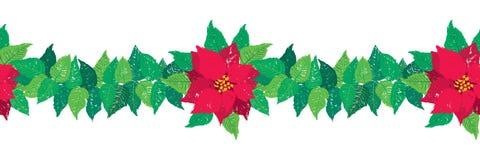 Dirigez la frontière sans couture de guirlande de Noël avec les fleurs rouges de poinsettia et les feuilles vertes illustration libre de droits