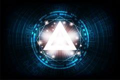 Dirigez la géométrie dans un concept de technologie sur un fond bleu-foncé Photo libre de droits