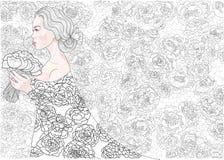 Dirigez la jeune mariée de princesse sur un fond de modèle décoratif de fleurs Photos stock