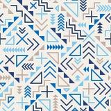 Dirigez la ligne géométrique de rétro pêle-mêle sans couture des années 80 modèle bleu de hippie de formes sur Grey Background Photo stock