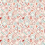 Dirigez la ligne géométrique de rétro pêle-mêle sans couture des années 80 modèle de hippie de couleur rouge de bleu de formes su Image libre de droits