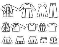 Dirigez la ligne icônes des vêtements de bébé pour des filles image stock